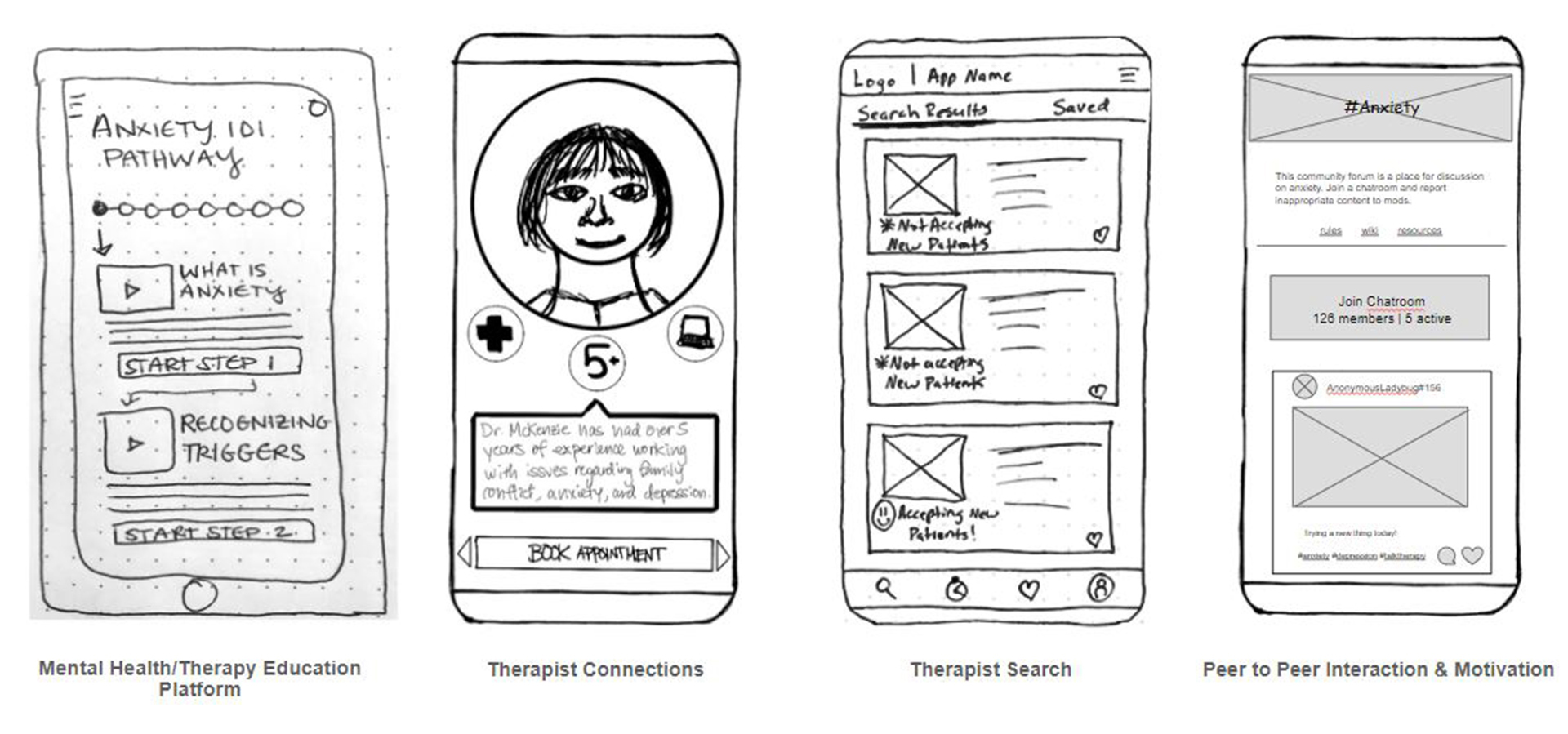 individual app concepts for finding a therapist