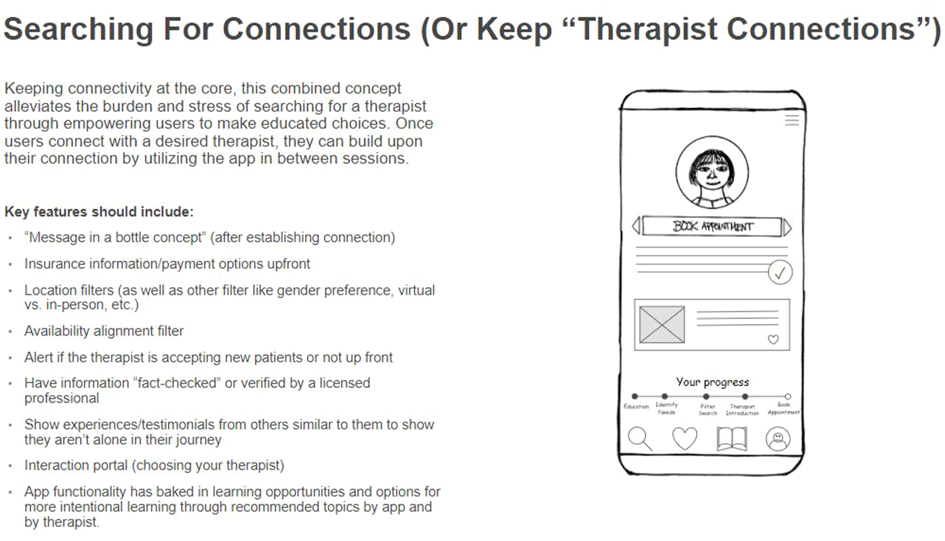 merged concept from the four initial concepts for finding a therapist app