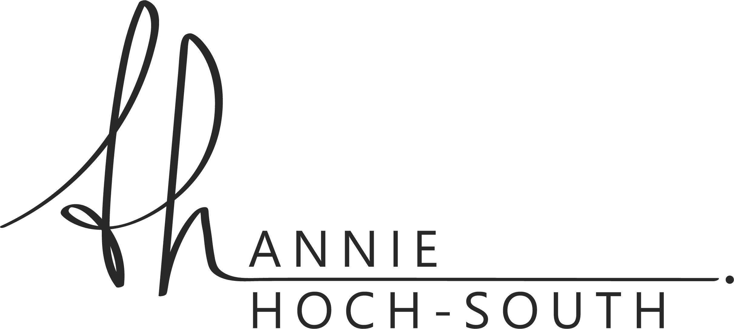 Annie Hoch-South black icon with cursive initials flowing to print font